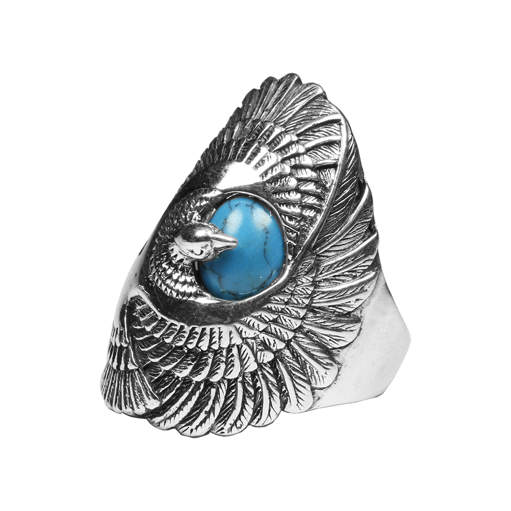925 Sterling Silver Jewelry Mens Ring Vintage Style Eagle Wings Blue Natural Stone Ring Male Fine