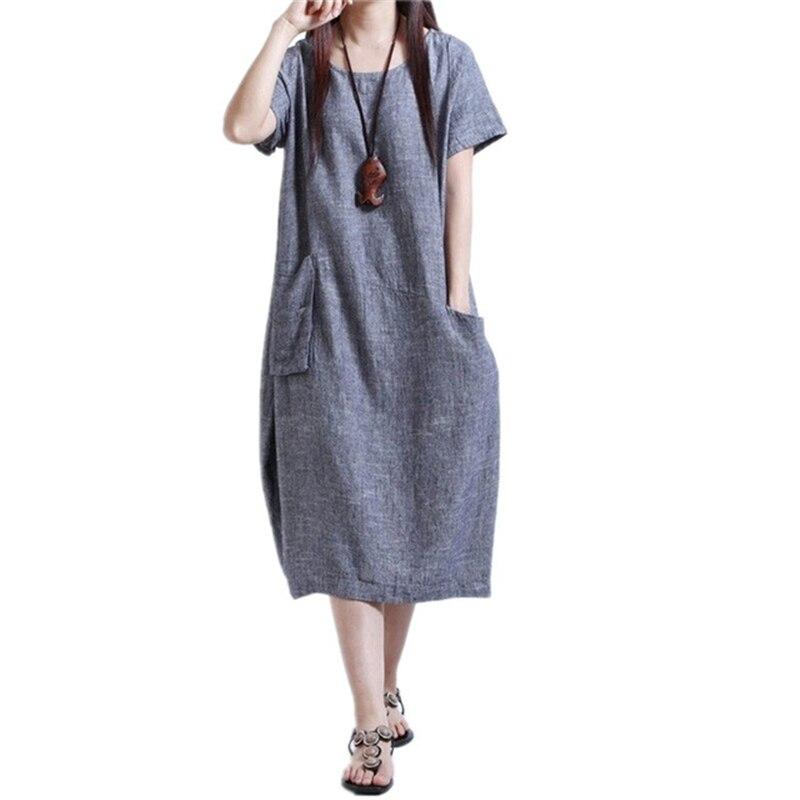 833801b31 Szmxss nueva moda verano estilo algodón de lino mujeres vestido largo  vestidos femeninos partido 2017 Vestidos