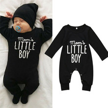 Emmababy arrival Unisex Baby One-Pieces Jumpsuit Newborn Kids Boys Girls Romper Black Long Sleeve Letter Print Loose Casual