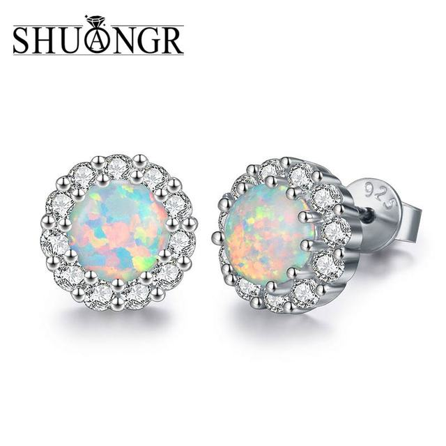 Shuangr 925 Sterling Silver Opal Stone Jewelry 2018 Crystal Stud Earrings For Woman Christmas Whole