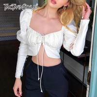 TWOTWINSTYLE Lace up Puff Sleeve Shirt Tops Female Backless Sexy Crop Tops Blouse Women 2018 Autumn Fashion Vintage Clothing New