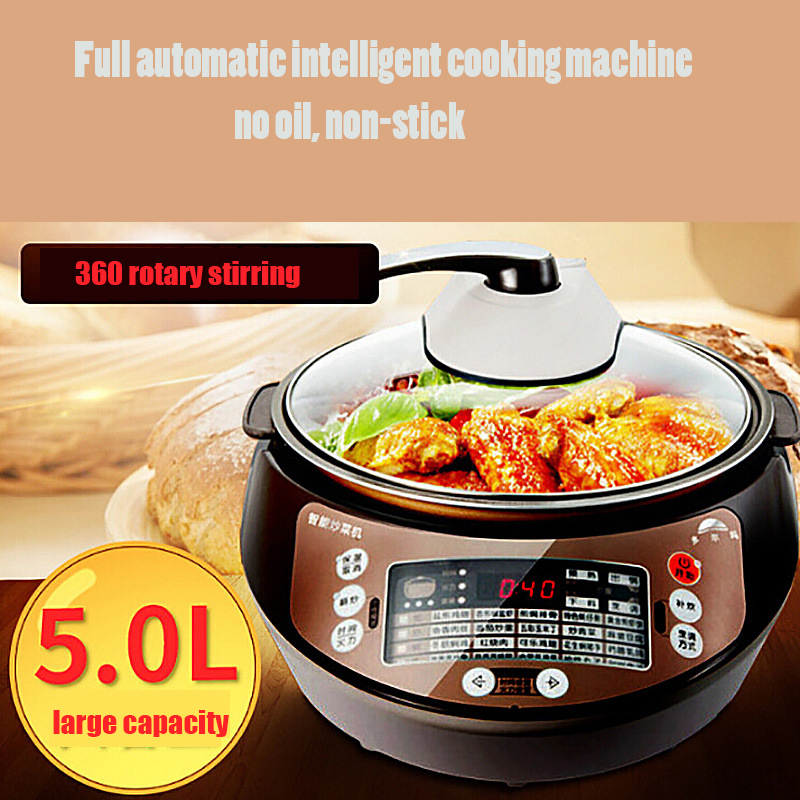 5L Full Automatic Cooking Machine Electric Skillet Smart Multi Cooker Robot Cooking Wok Non-stick Pan Cooker 360 Rotary Stirring wrench