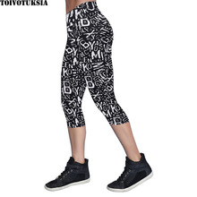 Arrival Ladies Comfortable Black Milk Leggings Printed Design Women Summer Mid-calf Pants Capris Stretch Legging