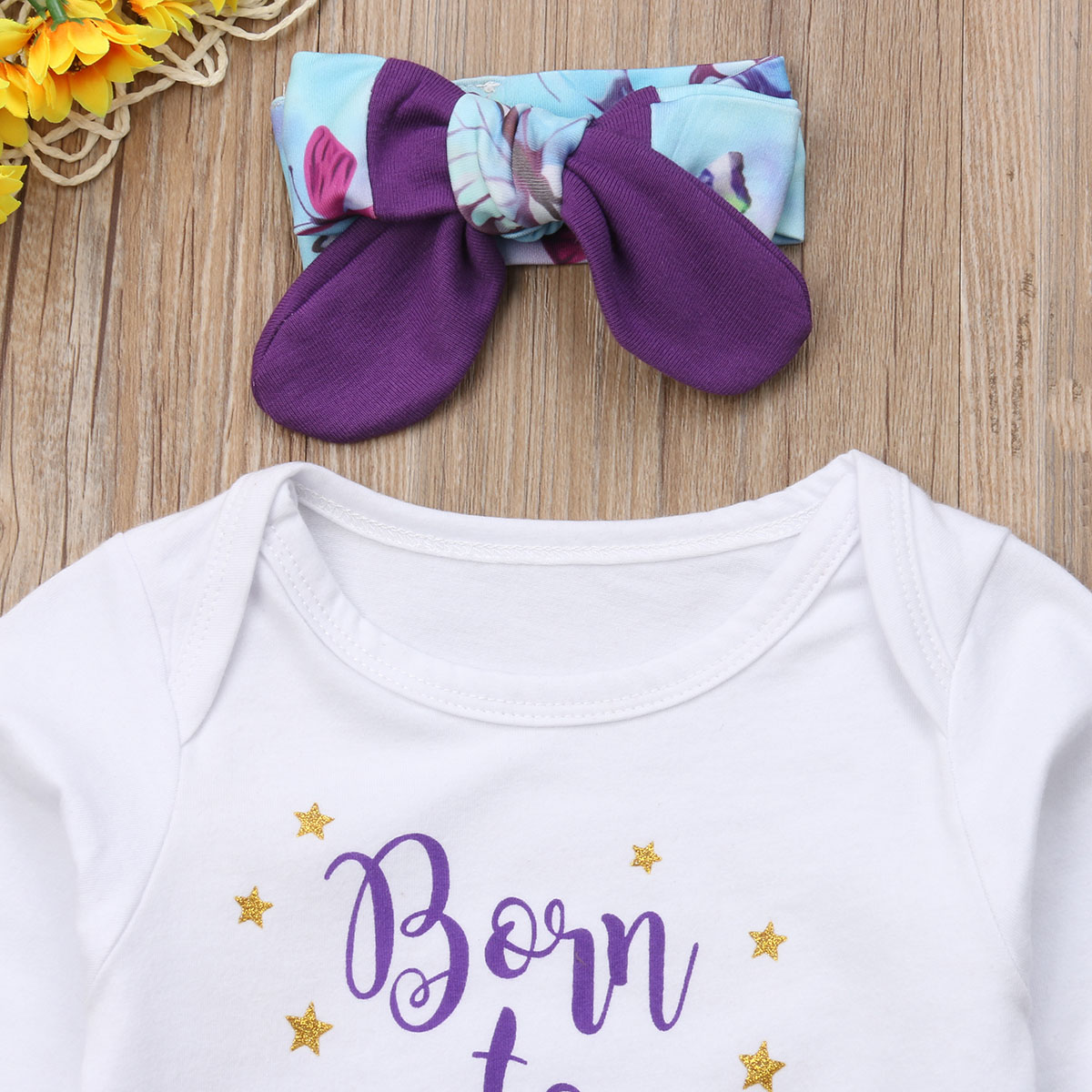 27abbdc7e Newborn Baby Girls Floral Clothing Cotton Tops Bodysuits Long Sleeve ...