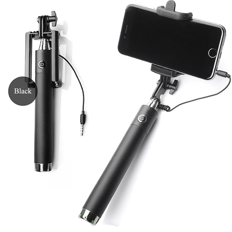 360 Degree Selfie Stick 3.5mm Cable Remote Control Self-portrait Monopod Extendable Selfie Handheld Stick For IPhone Android