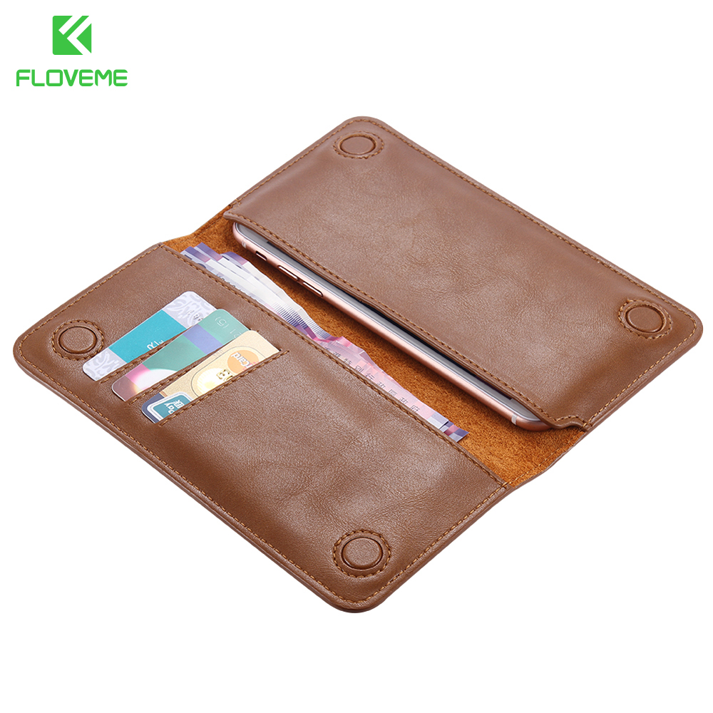 FLOVEME Luxury Leather Case For iPhone 7 Plus 6 6s plus Case Pouch for Samsung S6 S7 S8 edge For XiaoMi mi5 Cover Wallet Bags