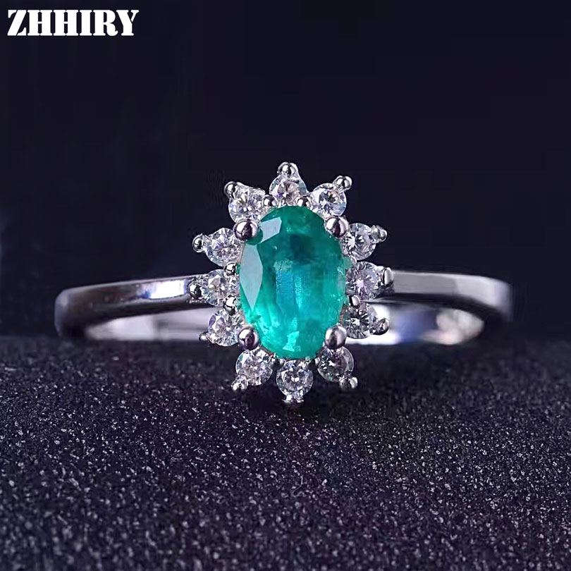 ZHHIRY Real Emerald Ring 925 Sterling Silver Natural Gem Stone Wedding For Women Genuine Fine Jewelry 4*6mm emerald ring free shipping natural real emerald 925 sterling silver 4 6mm fine jewelry