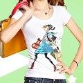 Diamante abalorios Impresión de la Historieta Camiseta de Algodón de impresión camiseta del verano tops para las mujeres