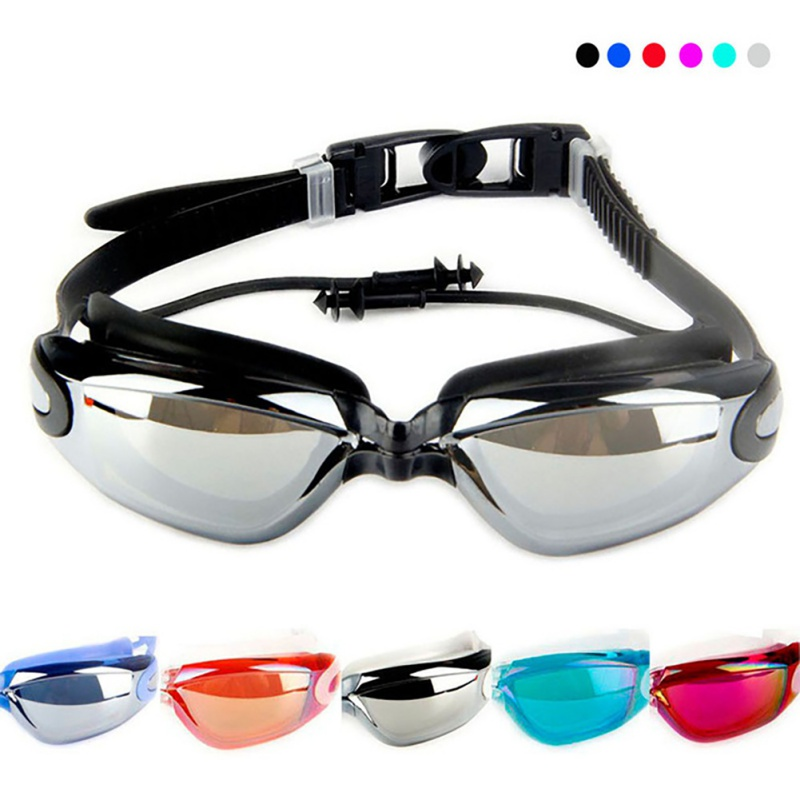 2bfba7a4ce6 Outdoor Water Sports Swimming Glasses Siamese silicone earplugs plating new swimming  goggles Sports Eyewear With Earplug