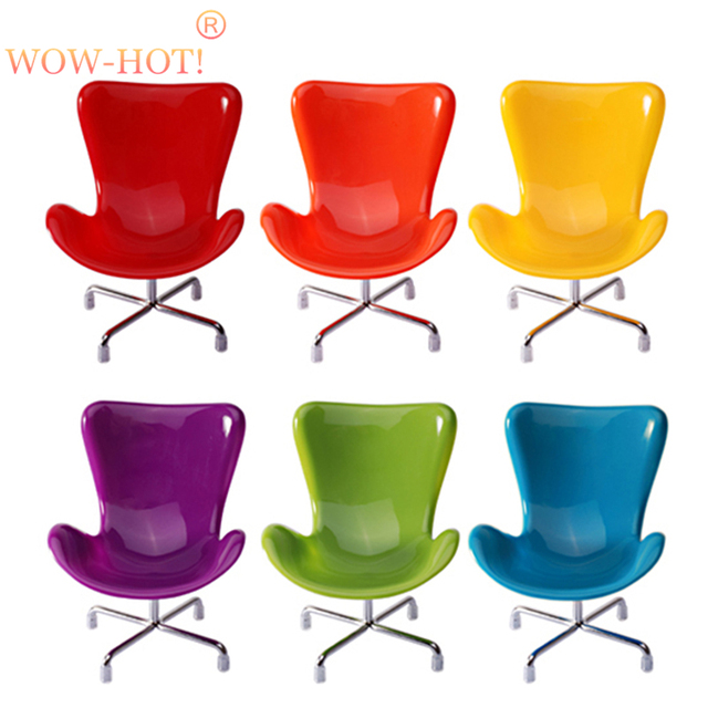 6pcs/lot Plastic Fashion Doll Chairs,6Colors Mixed 1/6 Doll Accessories,Dollhouse Furniture Toys for Children