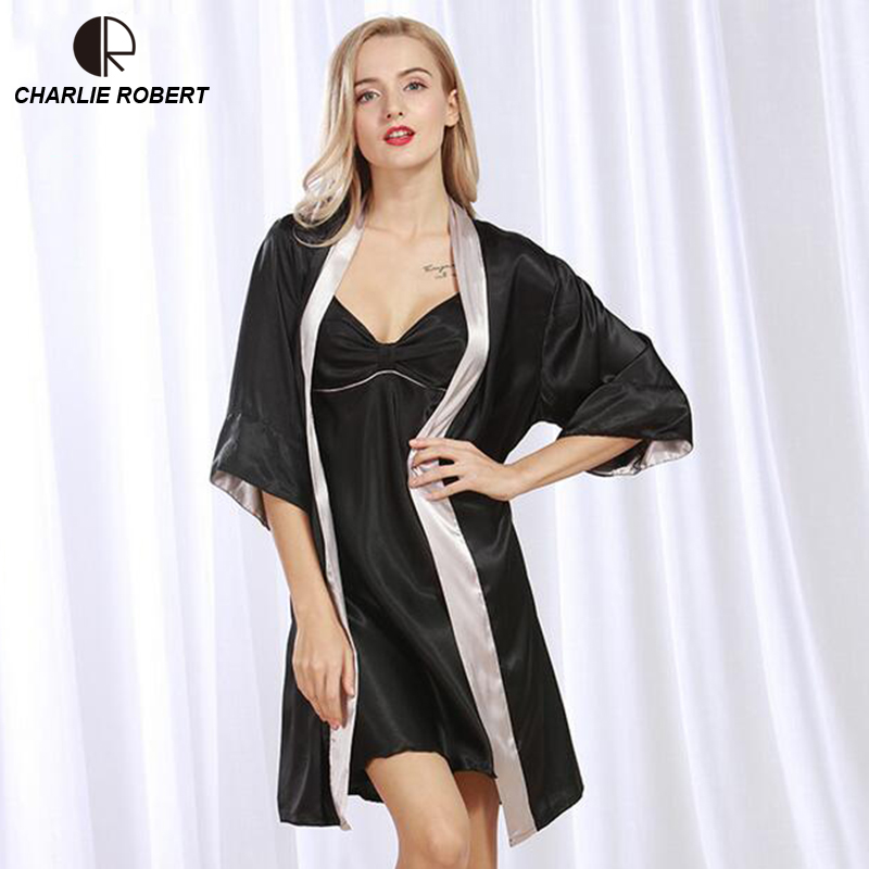 CR 2017 New Sexy Silk Like Sleepwear Women Robe Sets Robe & Nightgrown Set Pajama Sleeping Dress AP320