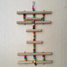 Wooden Bird Ladder Swing Exercise Hamster Parrot Parakeet Toy Colorful Bead Pets Toys Cage Resk Stand Platform