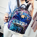 Women Sequin Backpack Fashion PU Leather Glitter Purple Backpacks For Teenage Girls Fresh Bags Women's Shoulder Bag