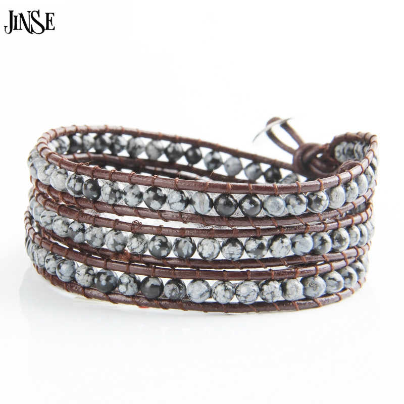 JINSE Fashion Jewelry 4 Strands 4mm Natural Stone Bead Handmade Brown Leather Beaded Bracelet Leather Wrap Excellent HandWork