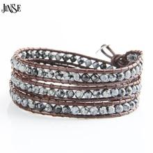 цена на Fashion Jewelry 4 Strands 4mm Agate/Turquoise/Aquamarine/Opal Handmade Brown Leather Beaded Wrap Bracelet, Excellent handwork