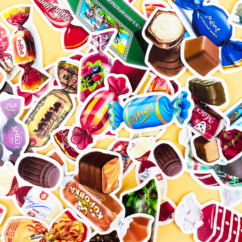 32pcs Creative Cute Self-made Colorful Candy Snacks Coffee Scrapbooking Cartoon Paper Stickers / Waterproof  Stationery Diy