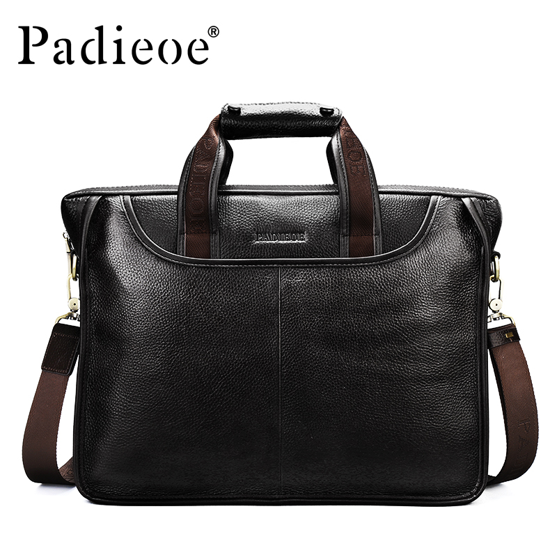 все цены на Padieoe New Fashion Men Business Bags Famous Brand Portfolio Male Genuine Leather Mens Briefcase Hot Sale Handbag Tote Handbag онлайн