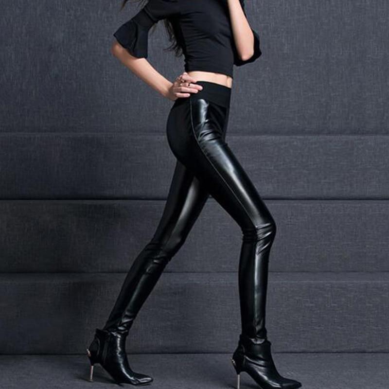 {Guoran} 2018 mujeres pantalones de cuero de cintura alta - Ropa de mujer - foto 2