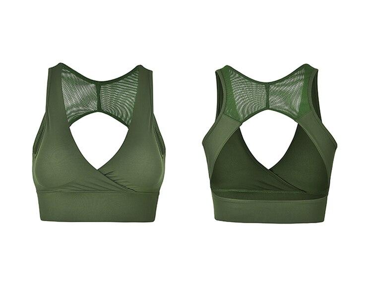 Open Back sports bra Deep V sexy yoga bra Racerback mesh crop top push up padded gym bra green fitness bra running active wear 1