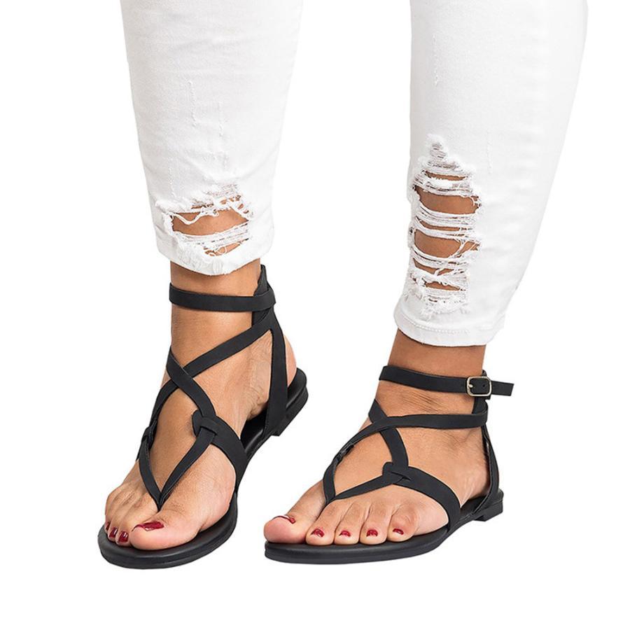 2019 été femmes dames sandales haute qualité en cuir pantoufles femme croix sangle plate cheville romaine Cusual chaussures taille 35-43