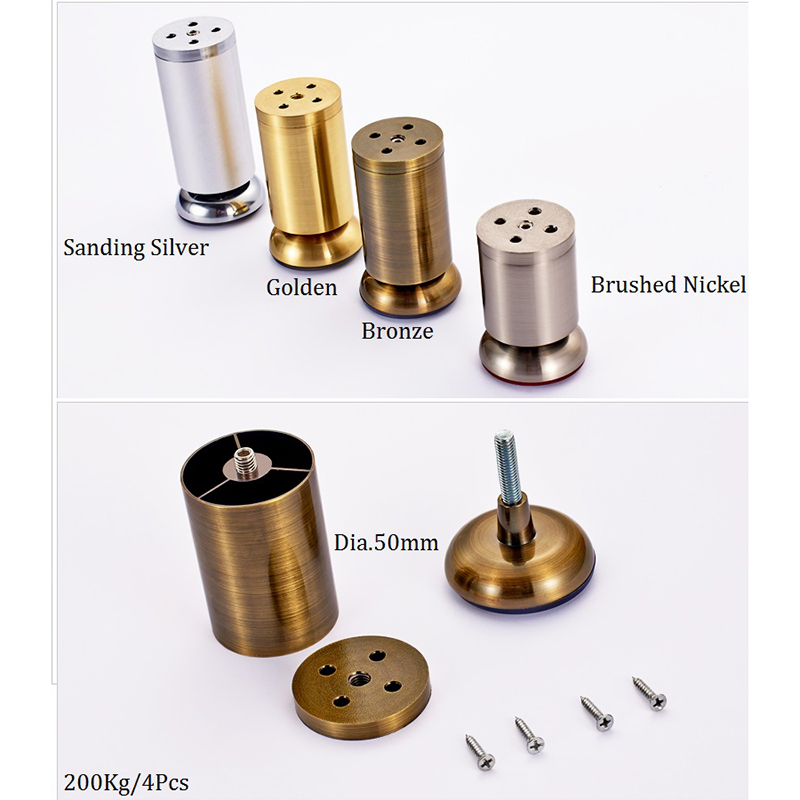 4Pcs/Lot  Round Dia.50mm  Adjustable Leveling Leveler Leg Feet For Sofa Bed Cabinet TV Gold Bronze Zinc Alloy