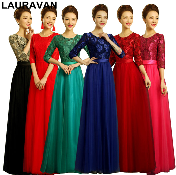 Dark Blue Red Scoop Neck Long Tulle Robe De Soiree Bridesmaid Dresses Ball Gown Bridal Tank Sleeve Dress Free Shipping