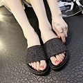 2016 Summer Beach Hot Sale Sexy Women Sequins Flats Slippers Casual Peep Toe Comfortable Bling Slipper Shoes Big EU Size 35-39