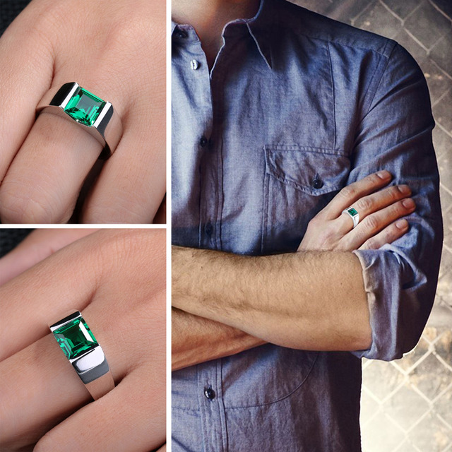 JewelryPalace Men's Square 2.2ct Green Created Emerald Engagement Ring 925 Sterling Sliver for Men Unique Fashion Jewelry