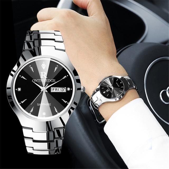 2018 Luxury Brand Lover Watch Pair Waterproof Tungsten Steel Men Women Couples L