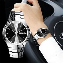 2018 יוקרה מותג מאהב שעון זוג עמיד למים טונגסטן פלדת גברים נשים זוגות אוהבי שעונים סט שעוני יד Relogio Feminino