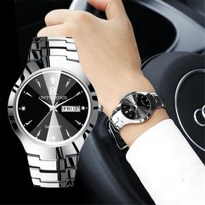 Image 1 - 2018 יוקרה מותג מאהב שעון זוג עמיד למים טונגסטן פלדת גברים נשים זוגות אוהבי שעונים סט שעוני יד Relogio Feminino