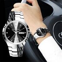 Vender Marca de lujo 2018, par de relojes para amantes del reloj, resistente al agua, de tungsteno, para hombres, mujeres y parejas, conjunto de relojes de pulsera, reloj femenino