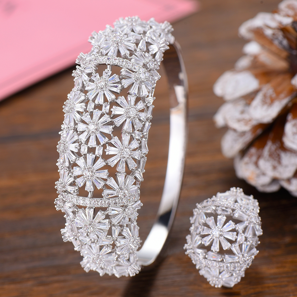 GODKI Luxury Flowers Nigeria Bangle Ring Set Jewelry Sets For Women Wedding Cubic Zircon Crystal CZ Dubai Bridal Jewelry SetsGODKI Luxury Flowers Nigeria Bangle Ring Set Jewelry Sets For Women Wedding Cubic Zircon Crystal CZ Dubai Bridal Jewelry Sets