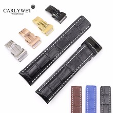 CARLYWET 22 24mm Black Brown Blue Replacement Real Cowhide Leather Wrist Watch Band Strap With Silver Clasp Buckle