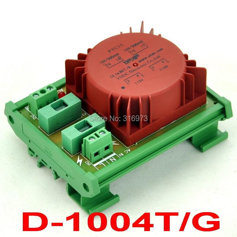 P 230VAC, S 15VAC, 15VA DIN Rail Mount Toroidal Power Transformer Module.