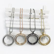 Photo Frame Memory Locket Glass Round Crystal Beaded Necklace 4 Colors Chain Romantic Jewelry For Women Best Gifts(China)