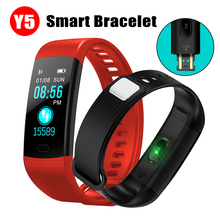 цена на Color Screen Y5 Fitness Tracker Smart Bracelet Pedometer Heart Rate Blood Pressure Monitor Smart Band Wristband with Sport