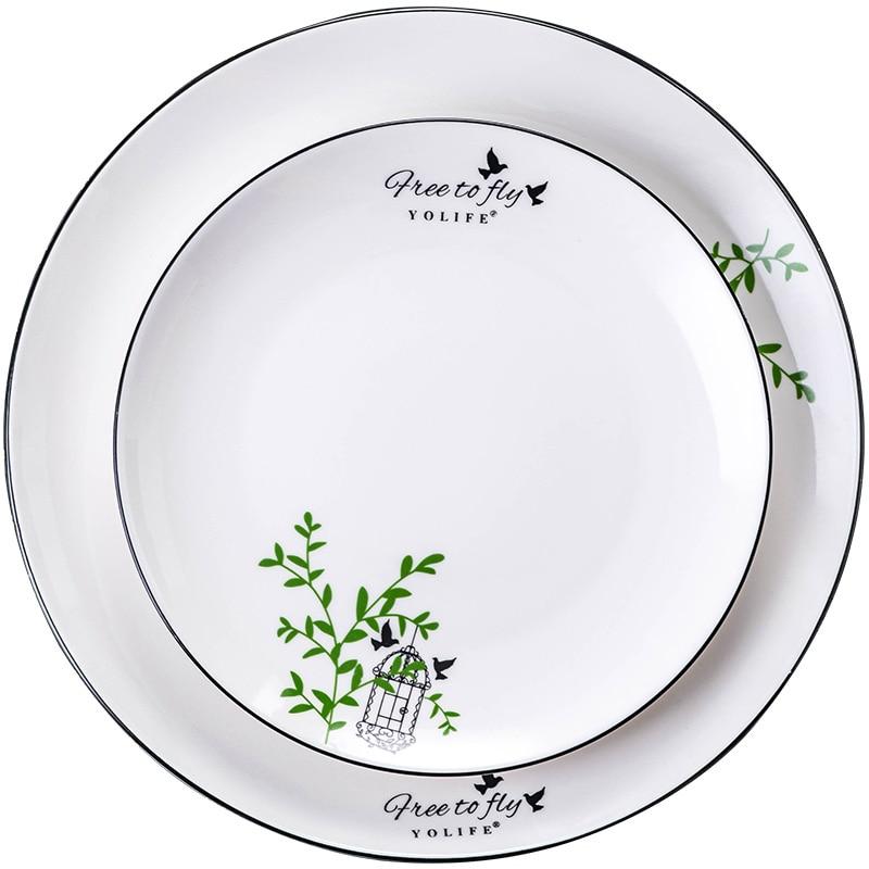 High Quality Dinnerware Dish White Porcelain On-glazed Round 8 Inches Ceramics Animal Plates Food Cake Dishes