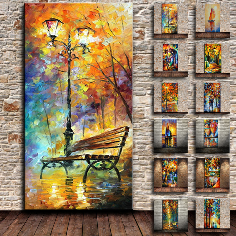 Large High Quality Brand Knife Oil Painting On Canvas Handpainted Abstract Modern Home Wall Decor Rain Tree Road Palette Picture