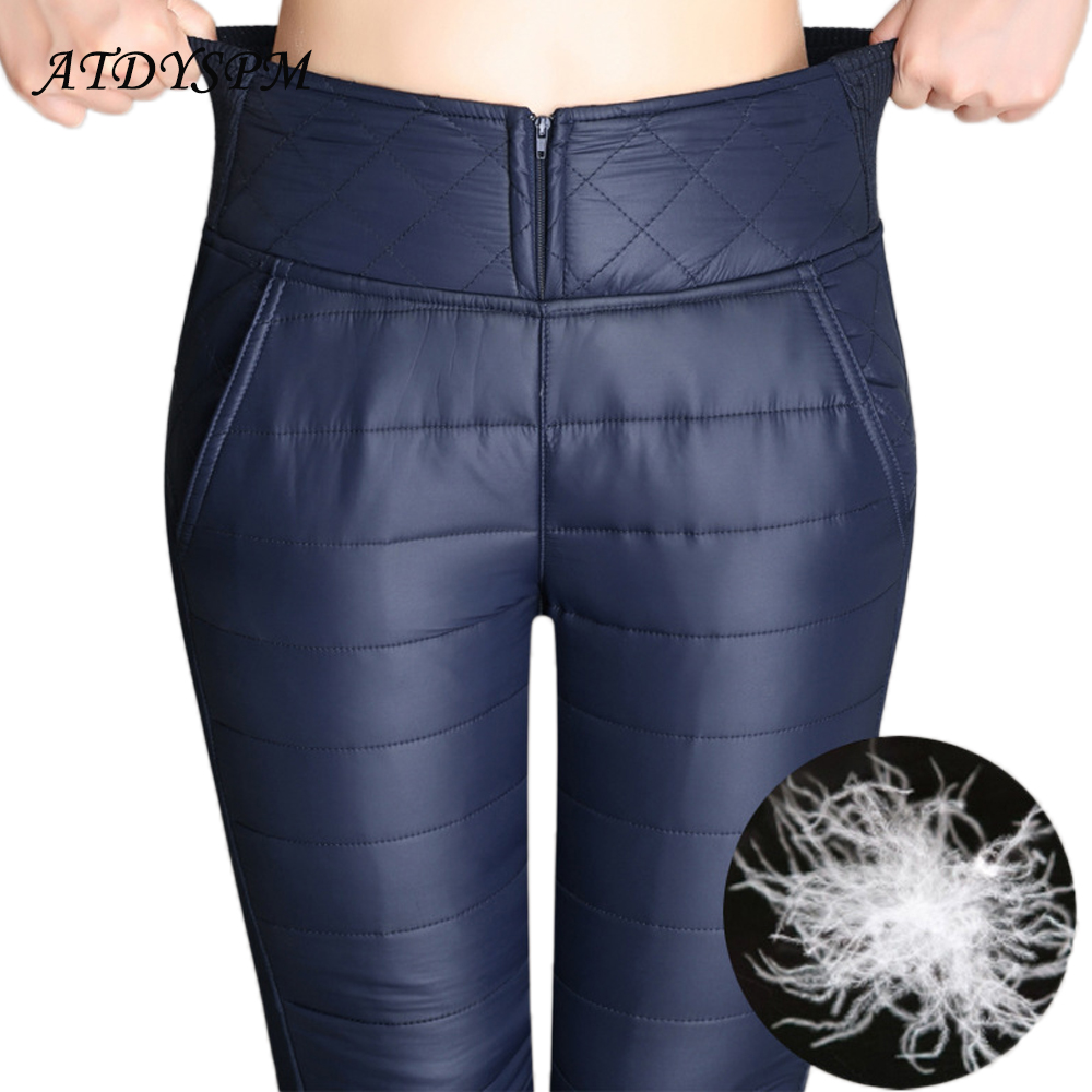 Plus Size 6XL Women's Winter Pants Trousers High Waist Velvet Thick Warm Down Pants Female Fashion Slim Outer Wear Pencil Pants