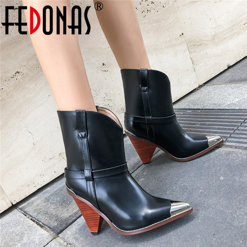 FEDONAS Women Brand Midcalf Boots Sexy Pointed Toe Autumn Winter Metal Toe Party Dancing Shoes Woman High Genuine Leather Boots-in Mid-Calf Boots from Shoes