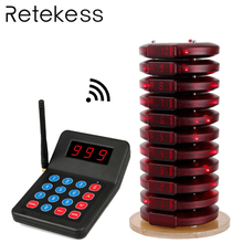 RETEKESS TD104 433.2MHz wireless queue paging system restaurant pager call customer service restaurant equipment for coffee shop customer service paging call calling system for pub bars 1pc numeric monitor and 5 call bells