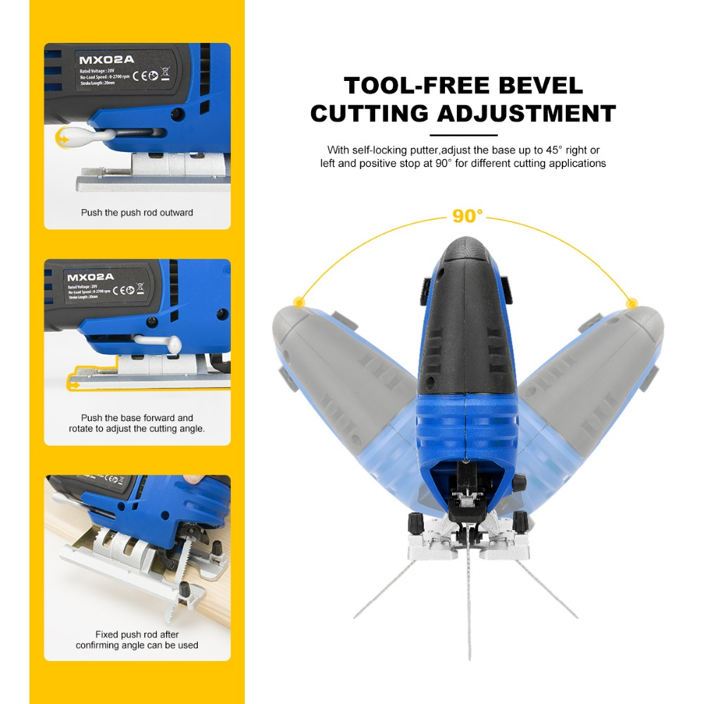 Blades Cordless Quick Guide Jigsaw Electric Blade Saw Light By Jig PROSTORMER 20V Power Pcs Saw Woodworking LED 6 Change With