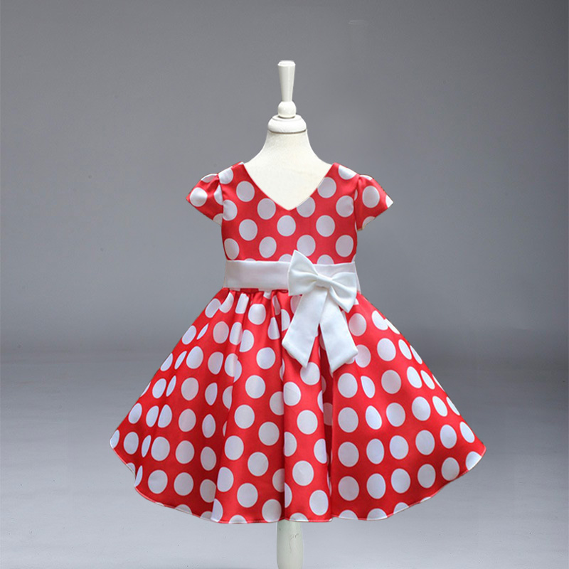 Retail! New Arrival Girl dress Cute girl princess big party Dress baby girl Dot wedding party dress free shipping L616 free shipping new arrival 2015 fashion summer baby girl lovely flower sleeveless bowknot round neck party dress hot sale