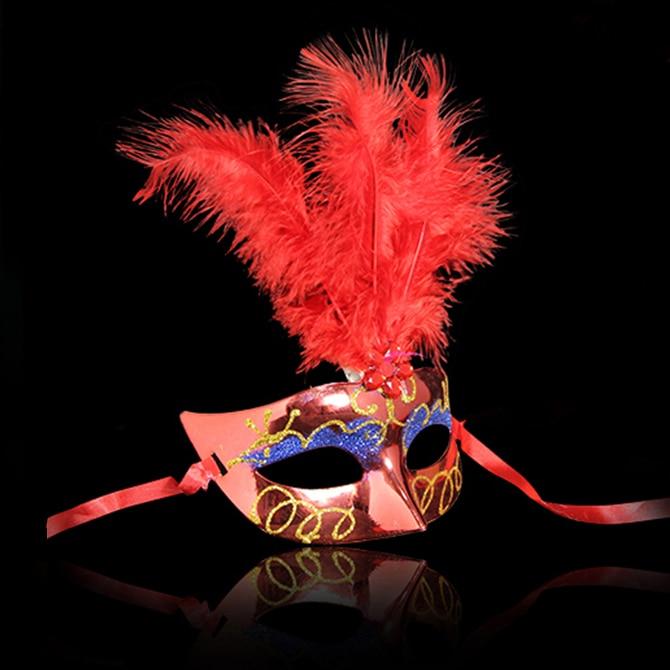 Çok Renkli Tüy PVC Prenses Maske Seksi Yortusu Venedik Bauta Maske - Tatiller ve Partiler Için - Fotoğraf 3