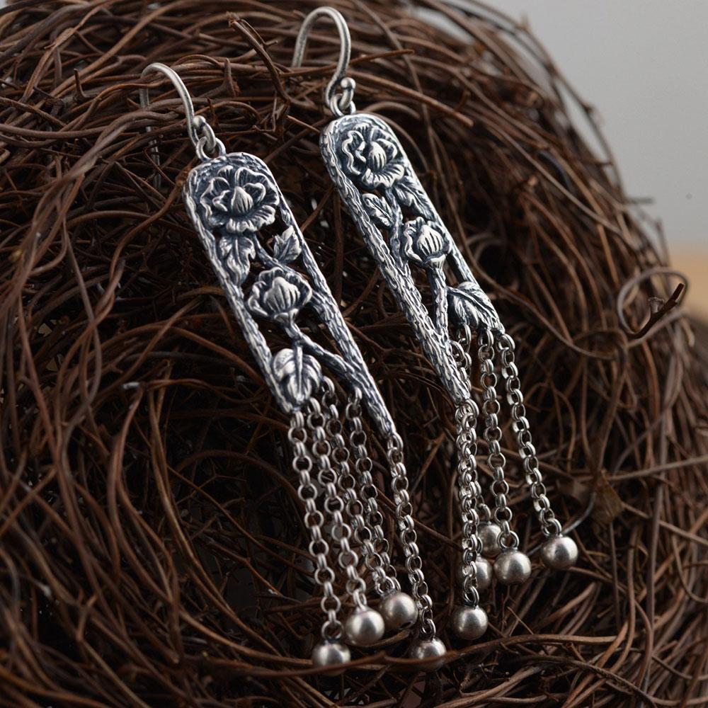 925 Silver Earring 100% S925 Sterling Silver boucle d'oreille Long Square Tassel Ball Drop Earrings for Women Jewelry Making кпб cl 219