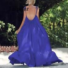 Летнее пляжное платье с открытой спиной женское однотонное свободное