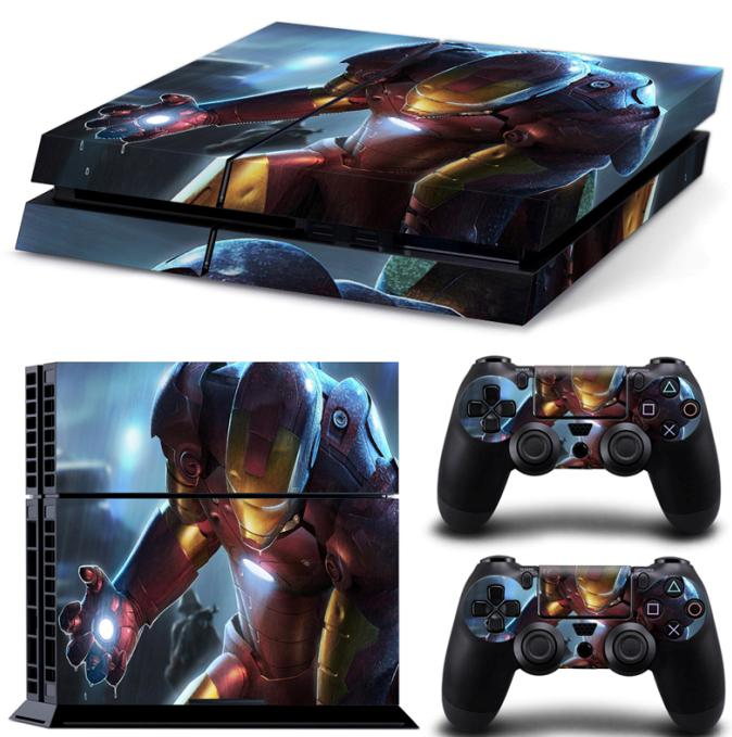 2017 New design Iron man skin stickers for PS4 vinyl material waterproof game decal stickers for PS4