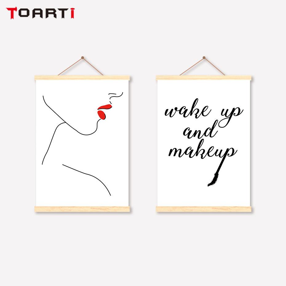 Nordic Minimalist Scroll Canvas Painting Women Body Red Lip Prints Posters Modern Encourage Quotes Wall Art Decorative Pictures in Painting Calligraphy from Home Garden