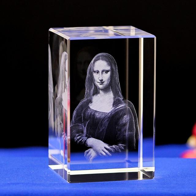 Mona Lisa lampe de nuit en cristal gravé au LASER nouveauté LED avec Base lumineuse colorée. Beaux Cadeaux